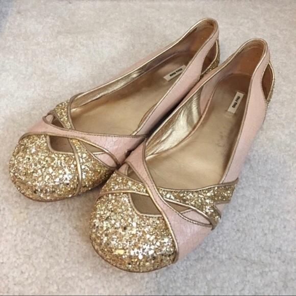 245365a3cee MIU MIU Crackled Pale Pink   Gold Glitter flats. M 5adbdd292c705d5e6e8cb151